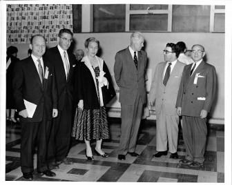 Beth Israel Open House, 5/27/1953. Herbert Schlager, Rabbi Herschel Lyman, Mrs. Hatcher, UM President Harlan Hatcher, Rabbi Weinberg, Osias Zwerdling.