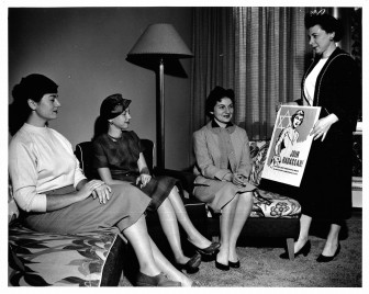 Left to right : Marilyn Krim, Audrey Levy, Faye Woronoff, Ruth Bass. October, 1957.