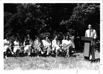 Breaking ground, 2000 Washtenaw. Eduardo Schteingart (podium). Molly Ingbar (3rd from left); Henry Gershowitz (5th from left, front row), Monica Schteingart (next to the podium).