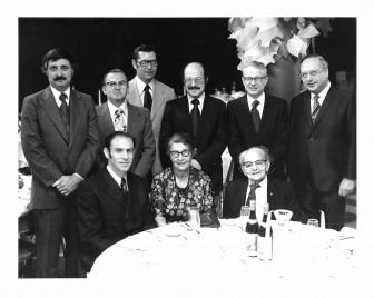 Presidents of Beth Israel. Back row, left to right: Jarvis Franzblau (1960-61), Henry Gershowitz (1970, 1994-95), Morris Friedman (1959), Saul Hymans (1969), Marty Sichel (1966), Paul Pressel (1967-68). Front row: Eduardo Schteingart (1974-78), Gerda Seligson (1971-73), Osias Zwerdling (1918-58).