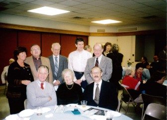 Presidents of the synagogue, at Jewish Theological Seminary of America program honoring Gerda Seligson. Standing, left to right: Susie Coran (1981-85), Henry Gershowitz (1970, 1994-95), Marty Sichel (1966),  Errol Soskolne (1996-97), Saul Hymans (1969). Sitting: Carl Cohen (1979), Gerda Seligson (1971-73), Eduardo (David) Schteingart (1974-78).