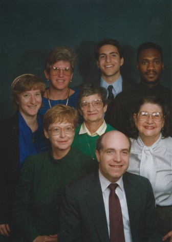 Beth Israel staff, circa 1992. Back row: Aviva Panush, Stacey Tessler, Michael Pont, Jonathan Warren, Middle row: Martha Oleinick, Shirley Norton, Hilma Geffen, Front row: Rabbi Robert Dobrusin