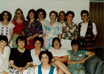 May, 1994. Back row, left to right: Fran Martin, Marilyn Berk, Sue Adler, Terry Mellow, Martha Oleinick, Ruth Markovitz, Roberta Tankanow, Lynn Klein. Front row: Debbie Chimowitz, Florence Gerber, Ruth Winter, Barbara Herman, Doris Miller. Foreground: Martha Young