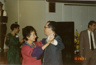 Monroe and Daryl Hafter dancing at the 75th anniversary celebration, 10/26/91.